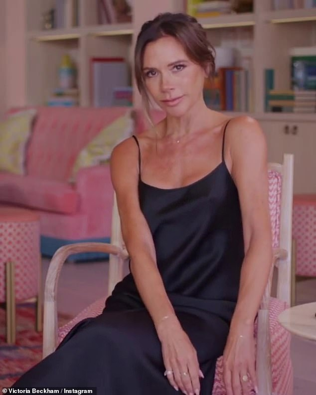 Wow!Victoria Beckham delighted her followers once again as she showcased her slim figure in a slinky black dress in a video as she spoke about her new 'must have' blusher