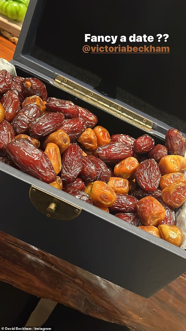 Sweet:Her new product launch comes as her husband David took to his Instagram story on Friday evening, taking a picture of what looked like a treasure chest full of dried dates