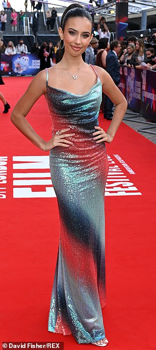 Gorgeous: Also in attendance was Disney star Kylie Cantrell, who looked very glamorous in a shimmery gray-green dress.