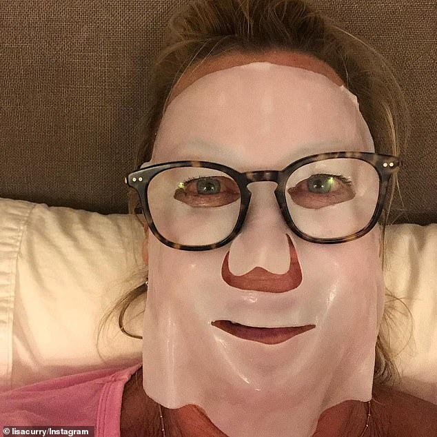 Mask it: 'I've spent so much time in the Australian elements and in swimming pools, I know what it's like to need to take care of your skin,' she said. Pictured in a face mask