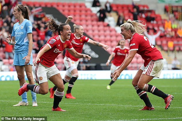 Lucy Staniforth (left) then got the home fans off their seats with a clever close-range backheel