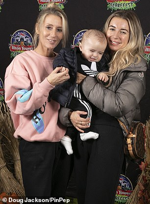 Beauty:Dani was soon joined by her mum Joanne Mas, who wowed in a a low-key pink sweater featuring blue-and-black prints