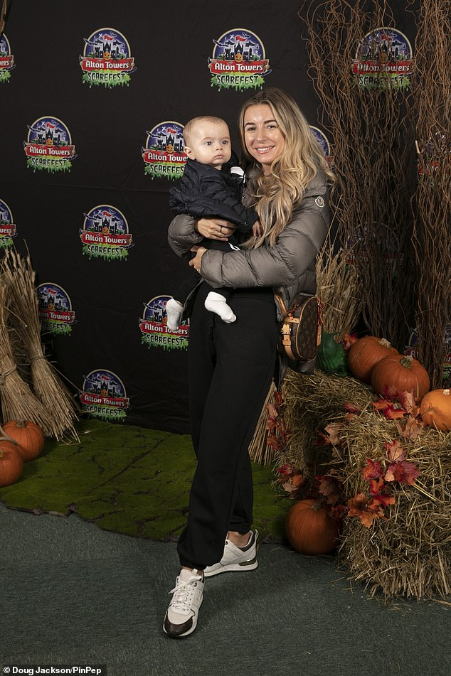 Adorable:Dani Dyer looked radiant as she attended the Alton Towers Scarefest preview with her son Santiago on Saturday in Stoke-On-Trent
