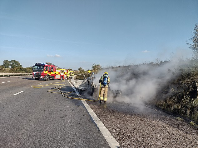 , Vehicle fire on the busy M4 causes miles of tailbacks as car is completely destroyed by flames, The Today News USA