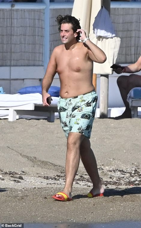 Wow: James Argent continued to show off his slimmed-down figure on Friday as he hit the beach by the Marbella Club Hotel
