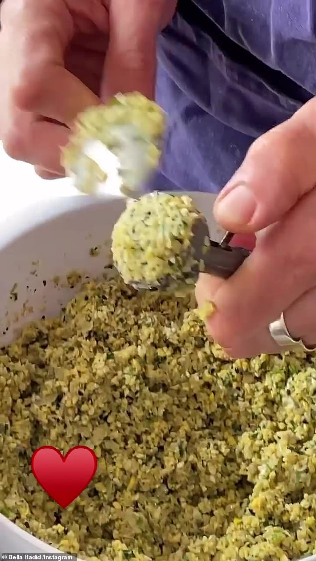 Homemade: Anwar looked to be making falafel balls from scratch