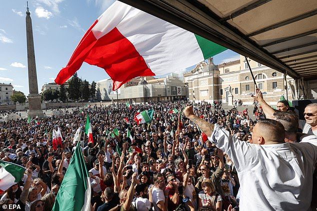The leader of ultra-right wing movement AREA, Giuliano Castellino, during a protest against the Green Pass in Popolo square in Rome