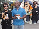 Kris Jenner and Corey Gamble enjoy pretzels before meeting Khloe Kardashian ahead of Kim's SNL debut