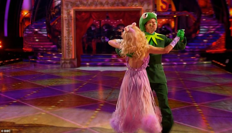 Impressive:Peep Show star Robert Webb and his partner Diane were up next with a Quickstep to the theme from The Muppets. He dressed as Kermit the Frog while Diane was Miss Piggy
