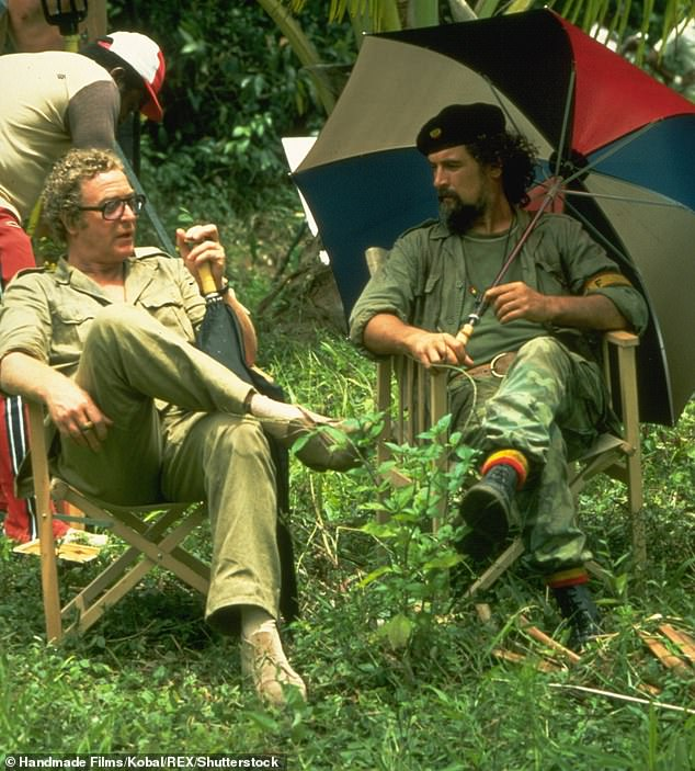 Extreme antics:Billy Connolly with co-star Michael Caine on the set of 1985 movie Water in St Lucia
