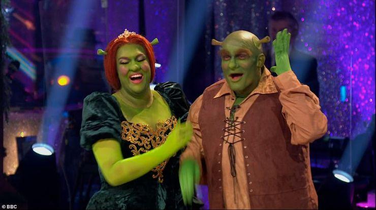 Animated:Next up to dance were Sara Davies and her professional partner Aljaz who took on a Samba to the Shrek soundtrack