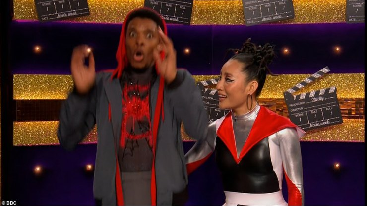 Can't believe it:CBBC presenter Rhys Stephenson and his partner Nancy then performed their couple's choice dance to the Spiderman film's soundtrack. They impressed, scoring a 10 from Motsi