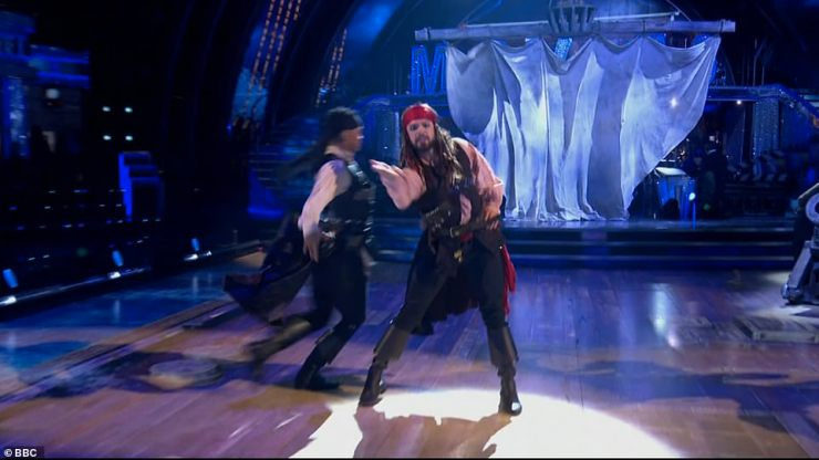 Got the moves: John and Johannes were awarded an incredible 39 for their Pirates of the Caribbean themed Pasodoble scoring three tens from judges Shirley Ballas, Motsi Mabuse and Anton Du Beke and a nine from Craig Revel Horwood