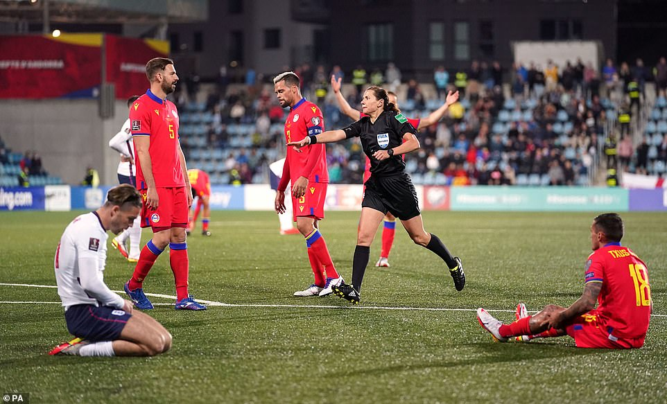 Grealish won fouls as soon as he was substituted on, as the first woman to referee England, Kateryna Monzul, gave a penalty
