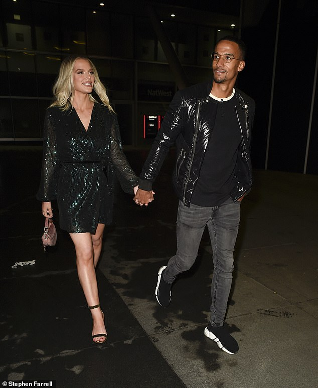 LOOKING HOT: Coronation Street star Helen Flanagan dazzled during a date night with her fiancé footballer Scott Sinclair in Manchester, Australia on Saturday