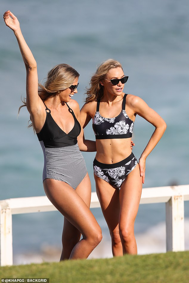 Summer bliss:For the photos, Natalie stunned in a black and white figure-hugging swimsuit and sunglasses
