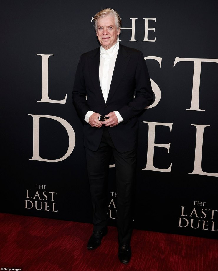 Dressed to the nines:Christopher McDonald, of Happy Gilmore fame, looked stylish in a black suit with peaked lapels and a white shirt with a thick collar