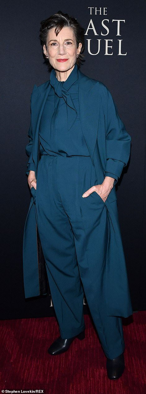 Put together:Harriet Walter, who's featured as the mother of Damon's knight, looked chic and coordinated in a teal blouse with matching pants and an overcoat in the same shade