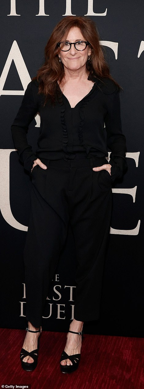 The scribe: The director and writer Nicole Holofcener, who collaborated with Affleck and Damon on the screenplay, looked playful in a ruffled black blouse with matching slacks