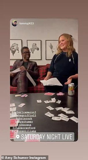 Behind-the-scenes: Schumer also included several behind-the-scenes videos and photos of the other skit participants, like The Bachelorette's Tyler Cameron and comedian Chris Rock