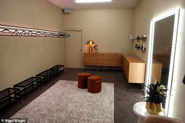 Design: The dressing room is a fashionista's dream with ample hanging space and mirrors