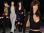 Bella Hadid celebrates 25th birthday with sister and brother dressed in sexy black ensemble in NYC