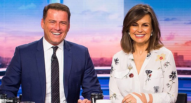 Abrupt departure: Lisa sat alongside Karl Stefanovic (left), 47, for 10 years before joining The Sunday Project in 2018. The former magazine editor revealed how Nine was unaware she was looking for employment elsewhere while the reported gender pay gap dispute was discussed