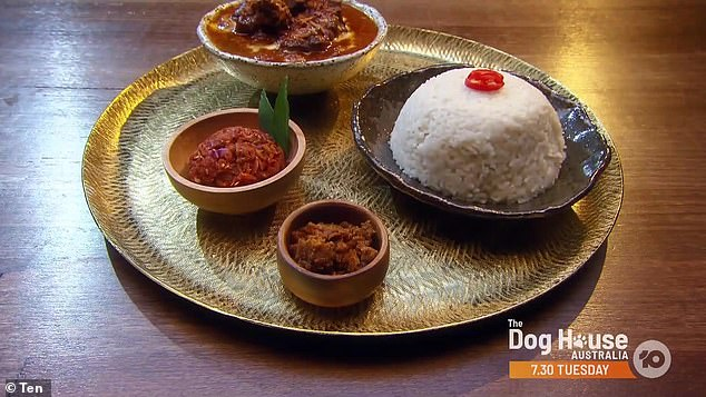 The winning dish: Dilruk presented the most standout meal - beef rendang with a coconut rice and onion chilli sambal (pictured)