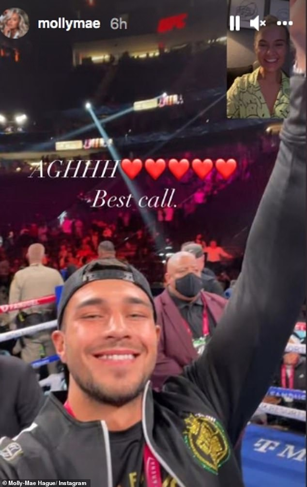 Chuffed:Molly Mae-Hague looked delighted as boyfriend Tommy Fury called her from Las Vegas after watching his brother demolish Deontay Wilder in a thrilling heavyweight contest on Saturday evening