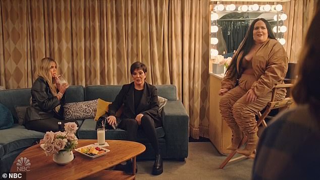 Aidy Kardashian!At one particular instance in the sketch she is seen in a Kim-like outfit during glam alongside Kris and Khloe who flex their acting prowess