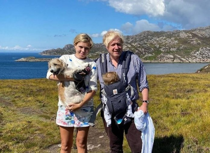 Mr Johnson's holiday there is likely to be seized on by critics, who will point out that he has left the country in the middle of a fuel crisis and with families facing a predicted 'winter of discontent', surging energy prices and stock shortages. Pictured: Boris and Carrie last took a family break with Wilfred in Scotland last year
