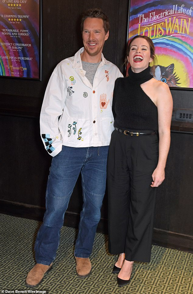 Fun: The pair appeared to be in a jovial mood as they entered the venue at Regent Street Cinema ahead of the films 2022 release