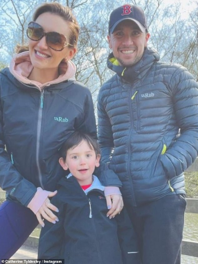 Family: The actress and her husband Tom Pitfield are expecting a second child - a younger sister to their six-year-old son, Alfie