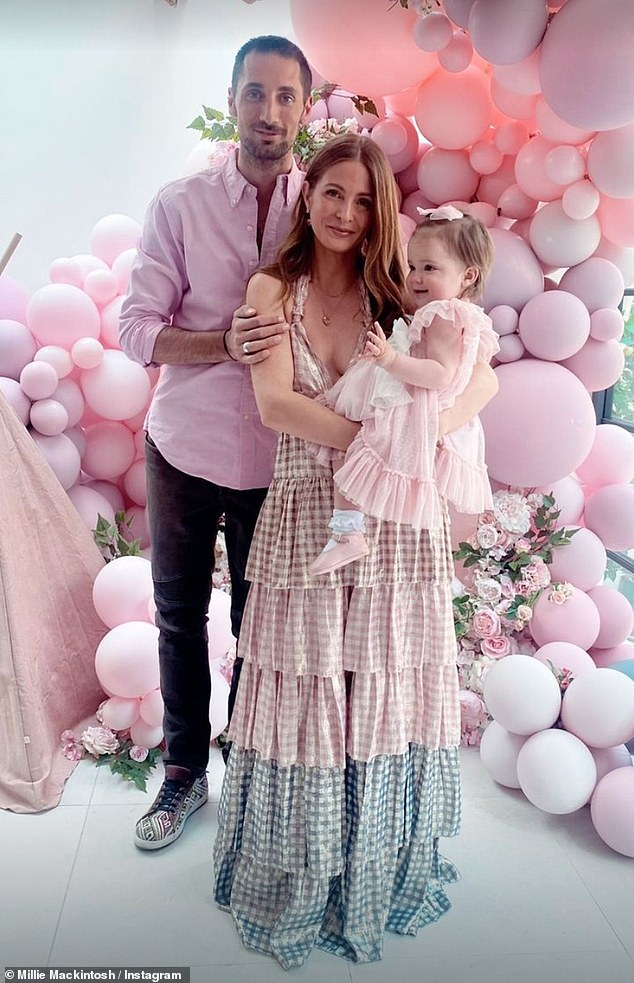 Expecting: Millie is expecting her second child with fiancé Hugo Taylor, 35, whom she already shares daughter Sienna, 17 months, with