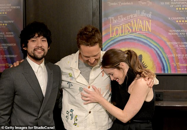 Fun night: They appeared to be in a giddy humour and in great spirits before the screening