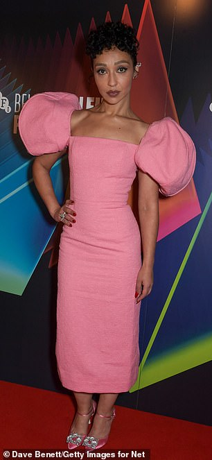 Glam: She was joined by Ruth Negga who looked stunning in a figure hugging pink midi dress which boasted puffed sleeves