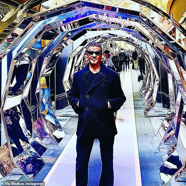 Upcoming:'In England to start working all the new expendables that also has the new cast members,' Sylvester teased alongside a crisp-looking shot of himself posing within a mirrored tunnel