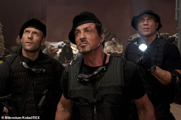 Talented:Sly starred in and directed the series' debut instalment in 2010, and went on to reprise his role in two sequels (pictured in 2010, centre, with Jason, left, and Randy Couture, right)