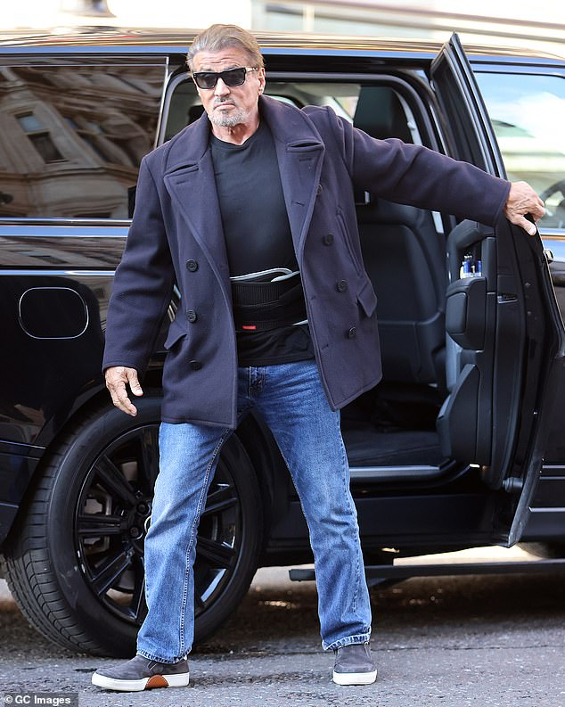 Out and about:Sylvester Stallone, 75, enjoyed a much-needed break from filming The Expendables 4 as he stepped out of his hotel in London on Sunday