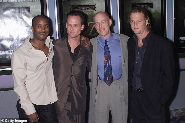 Helping hand: In January of this year, Adams' Oz costar Dean Winters (center left) and the show's creator and executive producer Tom Fontana got together to create a GoFundMe to help cover his hospital bills