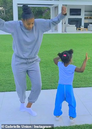 Dancing duo: The mommy-daughter duo both rocked comfortable sweat looks which were perfect for boogying down