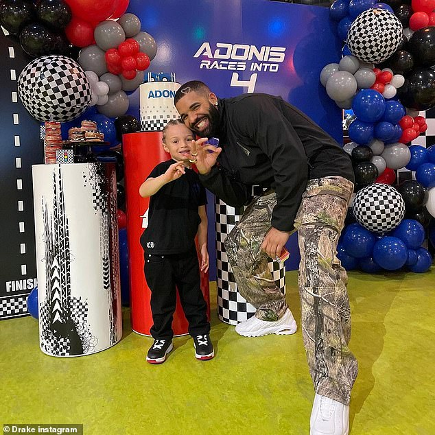 Devoted dad:On Sunday Drake took a moment to post on Instagram to mark his son Adonis' fourth birthday