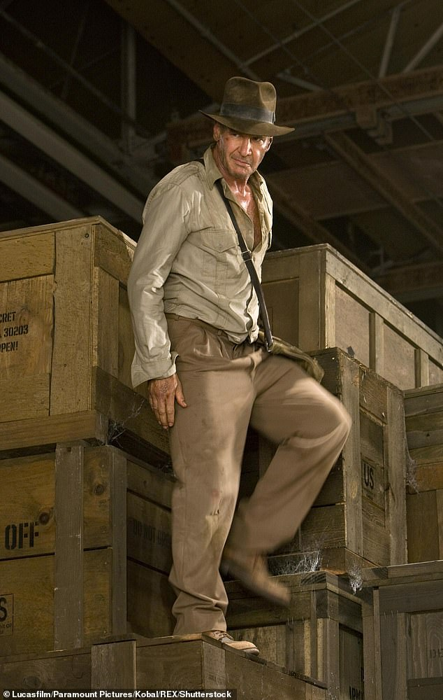 Back at it: Filming for the sequel appeared to be back in full swing last month following Harrison's June shoulder injury, which caused production to be halted for three months; pictured in Indiana Jones and The Kingdom Of The Crystal Skull 2008