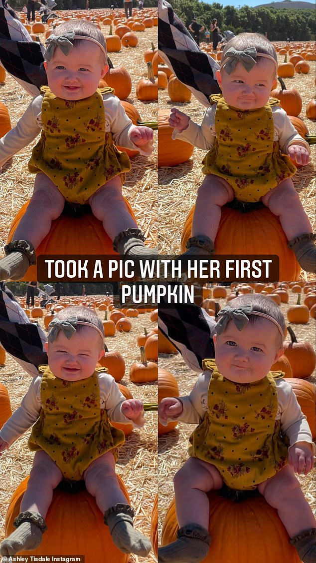 First pumpkin:Ashley Tisdale took her baby girl Jupiter Iris to her first pumpkin patch after a date night with husband Christopher French