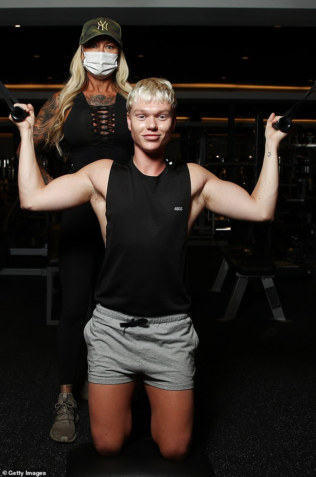 Jacked:The singer has bulked up during Sydney's four month lockdown
