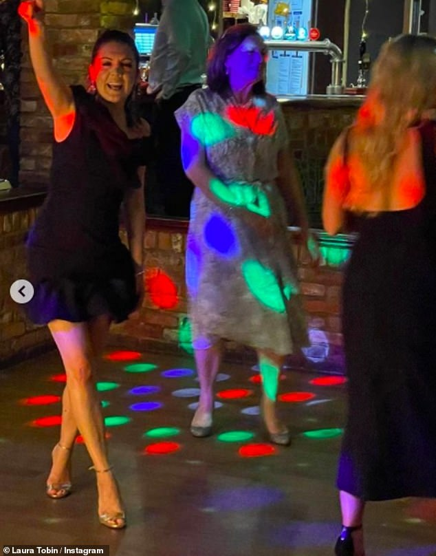 Having fun: She looked as if she was having a whale of a time at the do as she busted moves on the dance floor