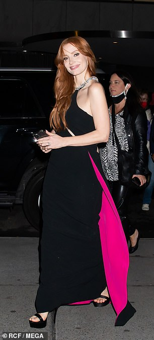 After the screening: Chastain smiled as she walked back to her car
