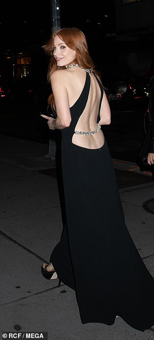 Backless: The Oscar nominee commanded attention in her chic frock