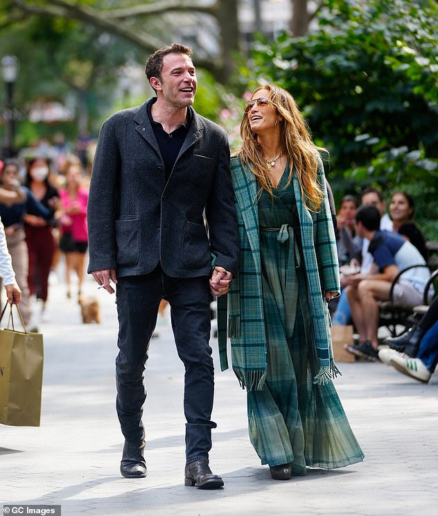 Work romance: Ben got back in touch with Jennifer via email back in February as he filmed The Tender Bar, though she was still engaged to Alex Rodriguez at the time; seen in New York City on September 26