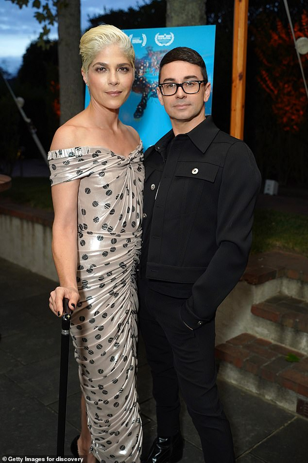 Wardrobe change: Blair changed into an off-the-shoulder gown for the reception party that included such guests as fashion designer Christian Siriano
